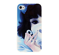 Tasting Coffee Girl TPU Soft GEL Back Case Cover for iPhone 4/4S