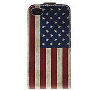 Patrón de la bandera nacional de América PU Leather Case Bady completa para el iPhone 4/4S