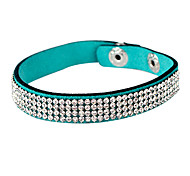 Four Row Crystal Leather Tennis Bracelet