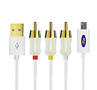 Micro USB 5Pin MHL to AV Composite CVBS TV Cable 1.8m for i9100 i9300 s4 i9500 Note2 N7100 Note3 N9000