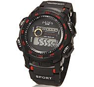 Men's Multi-Functional Lcd Digital Dial Rubber Band Wrist Watch