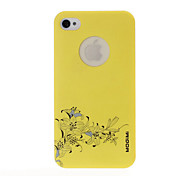 Flower Pattern Yellow Plastic Hard Case for iPhone 4/4S