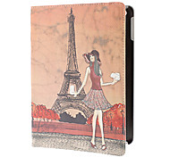 Fashion Girl and Eiffel Tower PU Full Body Case with Stand for iPad Air