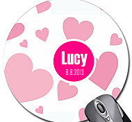 Personalized Gift Heart Pattern Pink Gaming Optical Round Mouse Pad (18x18cm)