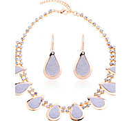 Lureme®Glitter Teardrop Shape Earrings Necklace Set