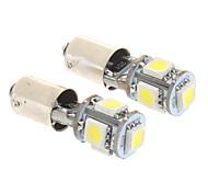 Ba9s 2W 5x5050SMD 50-60LM 6000K Cool White Light LED Bulb for Car (12V,2 pcs)
