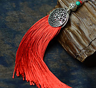 Ethnic (Tassel) Red Fabric Drop Earrings (1 Pair)