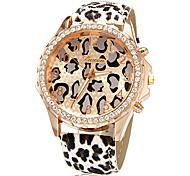 Damenuhr Mode Strass goldenen Zifferblatt Leopard-Band