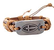 European 17Cm Men'S Brown  Leather Bracelet(Yellow,Brown,Black,Hunter Green)(1 Pc)