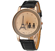 Women's Lover Pattern Round Dial PU Band Quartz Analog Wrist Watch (Assorted Color)