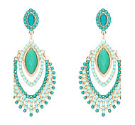 Chandelier Shape Green Resin Drop Earrings