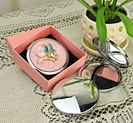 Personalized Gift Butterfly Style Pink Chrome Compact Mirror