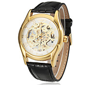 Men's Gold Tone Skeleton Black Leather Band Manual Mechanical Skeleton Wrist Watch