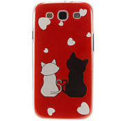 Romantic Cats Pattern Plastic Protective Hard Back Case Cover for Samsung Galaxy S3 I9300
