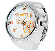 Women's Flower & Star Pattern Silver Alloy Quartz Analog Ring Watch