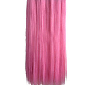 25 Inch Clip in Synthetic Pink Straight Hair Extensions with 5 Clips