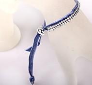 Two Rows Of Light Blue Velvet CCB Buckle Bracelet
