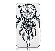 White Double Net And Feather Pattern Transparent Frame Back Case for iPhone 4/4S