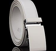 Men's Automatic Buckle White Genuine Leather Belt