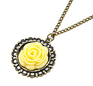 Vintage Rose Yellow Round Pendant Necklace