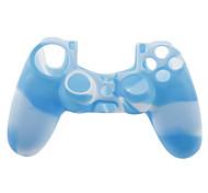 Caso de la piel de silicona y 2 apretones del palillo del pulgar para PS4 (azul + blanco)