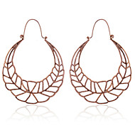 European Style Vintage Hollow Out Exaggerate Long Leaf Shape Hoop Earrings