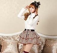 Skirt Sweet Lolita Lolita Cosplay Lolita Dress Coffee Patchwork / Print Lolita Medium Length Skirt For Women Polyester
