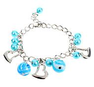 Fashion 22Cm Women'S Silver Alloy Charm Bracelet(Blue)(1 Pc)