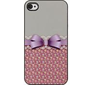 Elegante Bowknot mit Spitze-Muster-PC Hard Case mit 3 Lunch HD-Display-Schutzfolien für das iPhone 4/4S