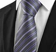 Новый Полосатый Сирень Черный Формальные мужские Галстук для свадьбы Сувениры