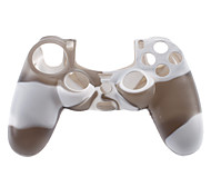 Silicone Skin Case and 2 Black Thumb Stick Grips for PS4 (Black + White)