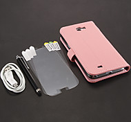 Litchi PU de la impresión bolsas de cuero + Stylus Pen + del USB HD Screen Protector 3 piezas para Samsung Galaxy Nota 2 N7100 Cable +