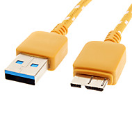 USB 3.0 to Micro USB 3.0 M/M Cable Net-Plated Yellow for Samsung Note 3(1M)