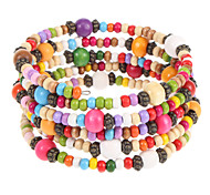 Multicolor legno Wrap Bracelet Fashion 6cm Donne'S (Multicolor) (1 Pc)