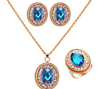 Fashion 18K Gold Plated Blue Emerald Green Austrian Crystal Jewelry Set (Earrings&Necklace&Rings)