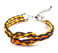 Fashion Yellow/Black Twisted PU Leather Wrap Bracelet(Random Color)