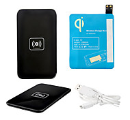 Schwarz Wireless Power Charger Pad + USB-Kabel + Receiver Paster (blau) für Samsung Galaxy I9500 S4