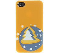 Happy Christmas Tree with Stars Around in Orange Pattern Matte Designed PC Hard Case for iPhone 4/4S