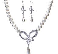 Boda de la perla de la joyería de (Pendientes y collar)