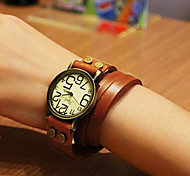 Fashion 20cm Women's Brown Alloy Watch Leather Bracelet(1 Pc)