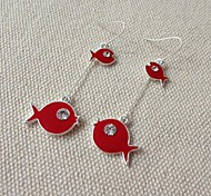 Fashion Modelling of Small Colored Alloy Earrings (Red,Black)