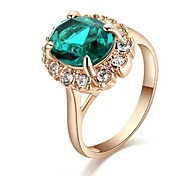 Classic Lady's Four Claws Green Simulated Diamond Ring