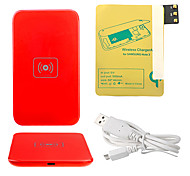 Red Wireless Power Charger Pad + Cavo USB + ricevitore Paster (Gold) per Samsung Galaxy Nota3 N9000