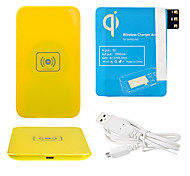 Amarelo Wireless Power Charger Pad + Cabo USB + Receptor Paster (azul) para Samsung Galaxy Note3 N9000