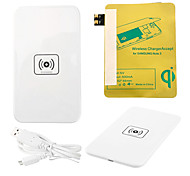 White Wireless Power Charger Pad + USB Cable + Receiver Paster(Gold) for Samsung Galaxy S3 I9300
