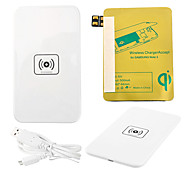 White Wireless Power Charger Pad + USB Cable + Receiver Paster(Gold) for Samsung Galaxy Note2 N7100