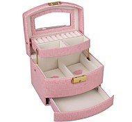 Fashion White/Pink/Rose Faux Leather Jewelry Box Display for Travel