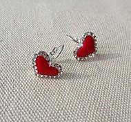 Fashion Heart-Shaped Diamond Alloy Earrings(Assorted Color)