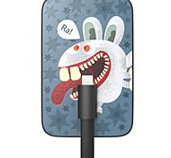 OUNUO 3200mAh Exquisito Craft Wild Bunny Pattern 7mm Grosor Power Bank con una función de 8-Pin Cable (5V 1A, 22cm)