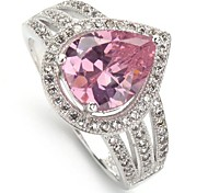 Fashion 925 Silver Plated Copper Pink Zircon Ring